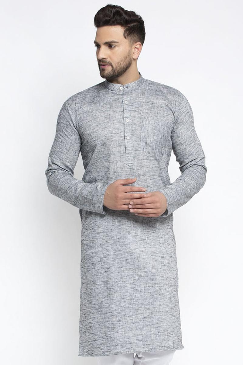 Grey Color Cotton Fabric Festive Wear Readymade Kurta For Men