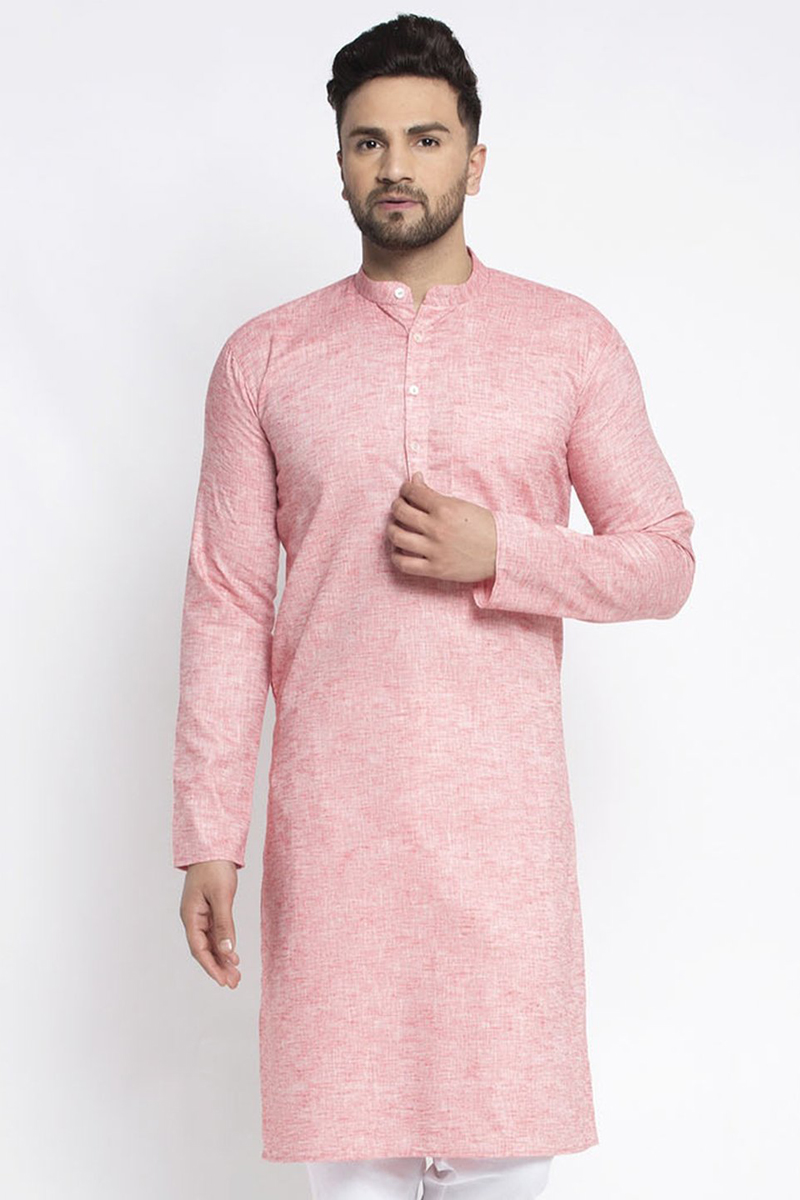 Pink Color Cotton Fabric Sangeet Wear Readymade Kurta For Men