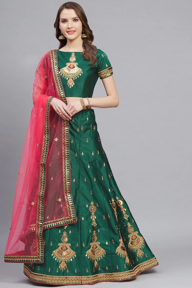 Designer Embroidered Green Color Sangeet Wear Satin Fabric Lehenga Choli