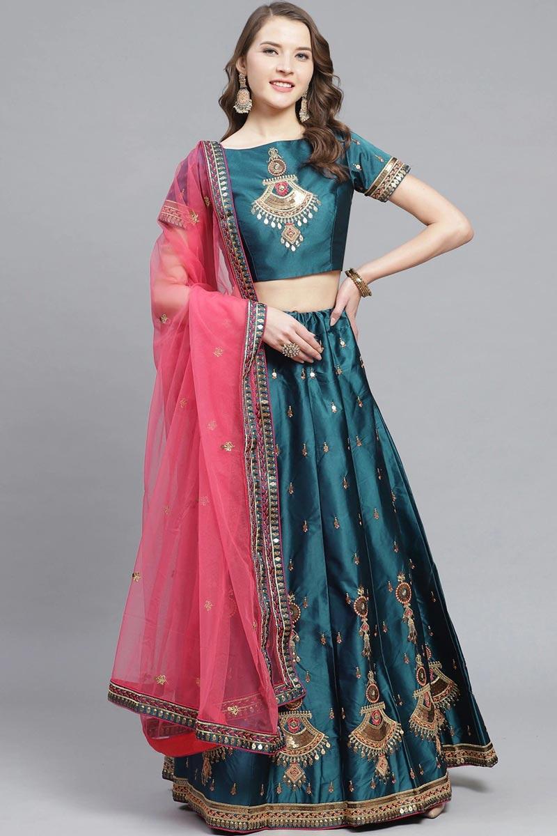Sangeet Wear Satin Fabric Embroidered Teal Color Designer Lehenga Choli