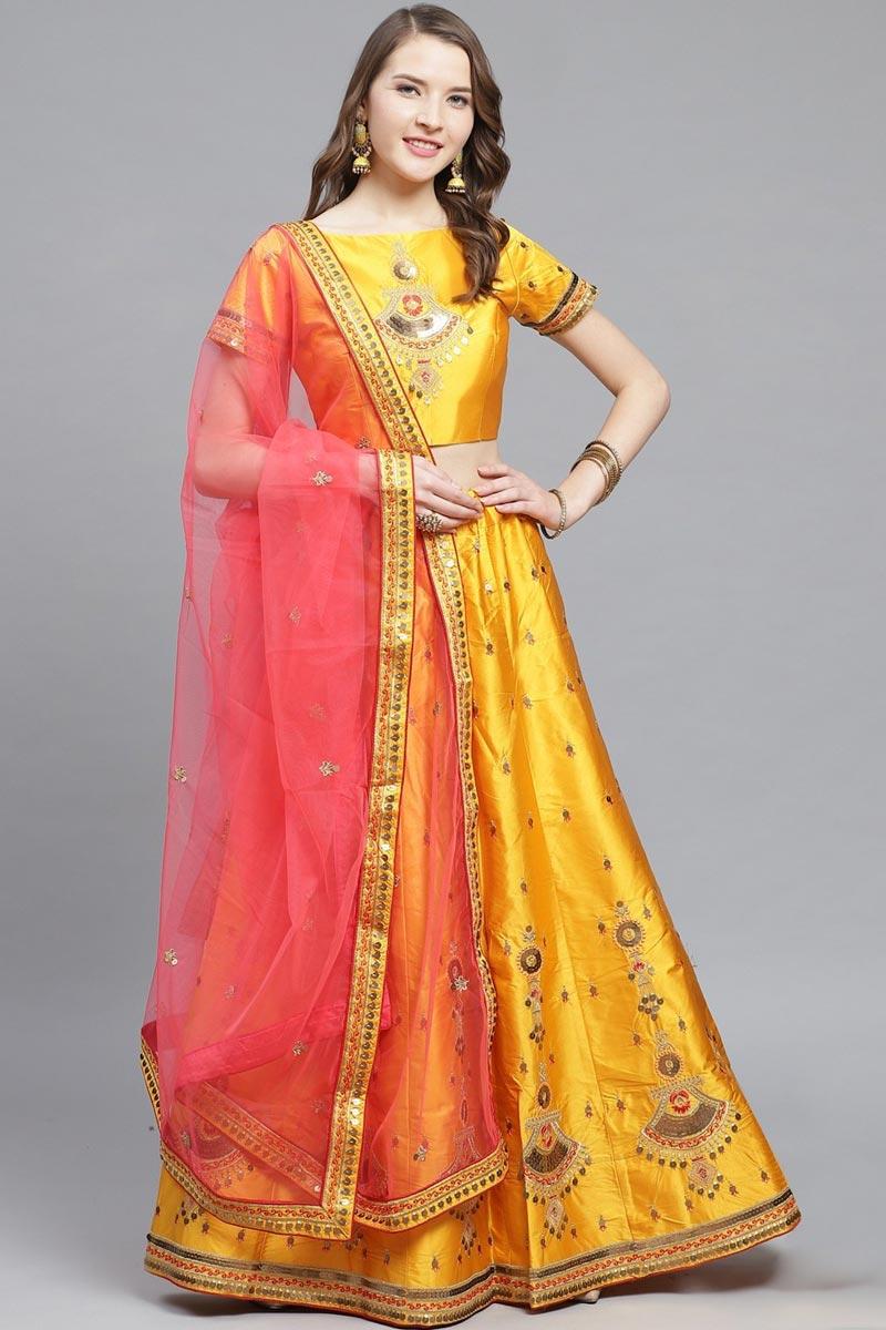 Satin Fabric Sangeet Wear Designer Embroidered Mustard Color Lehenga