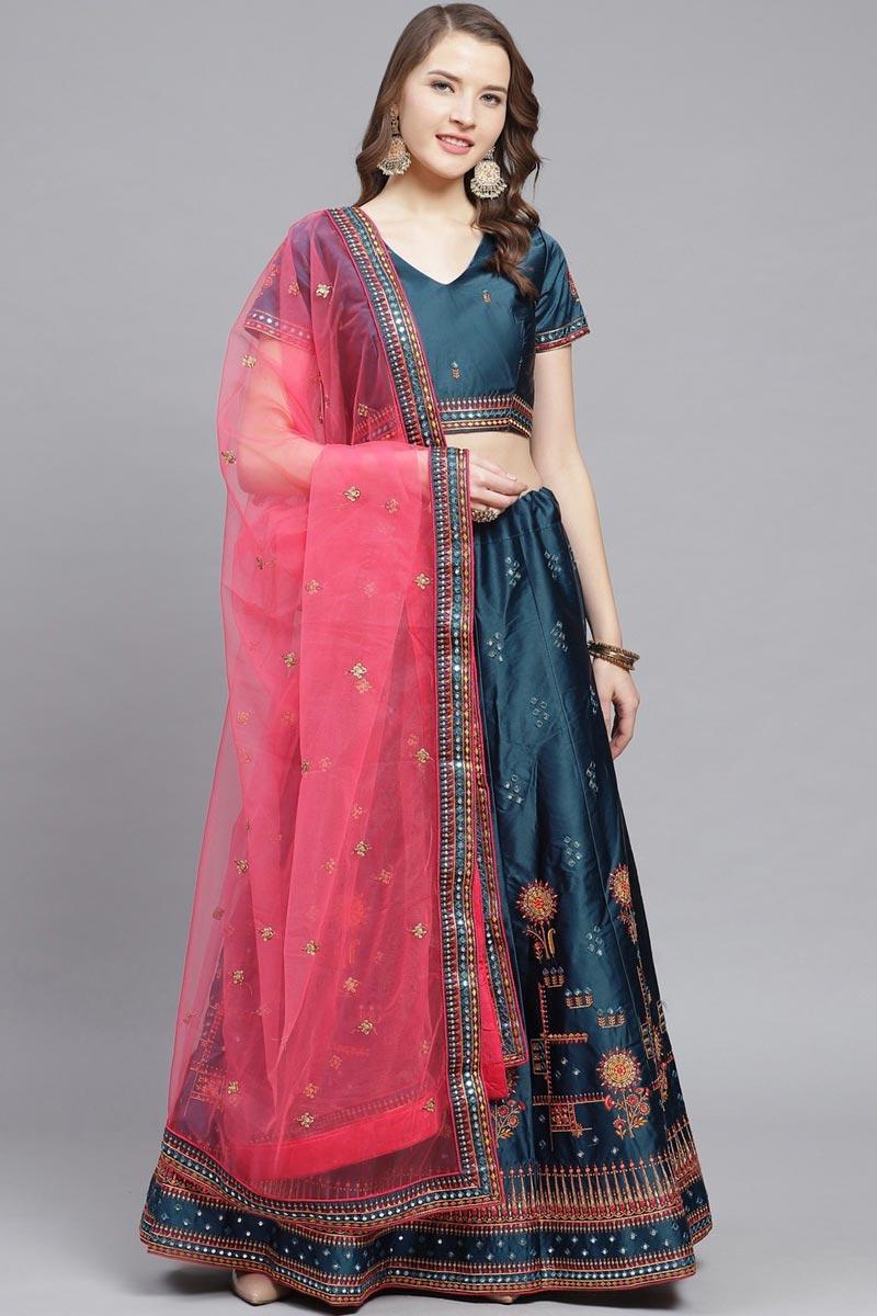 Sangeet Wear Teal Color Satin Fabric Embroidered Designer Lehenga Choli