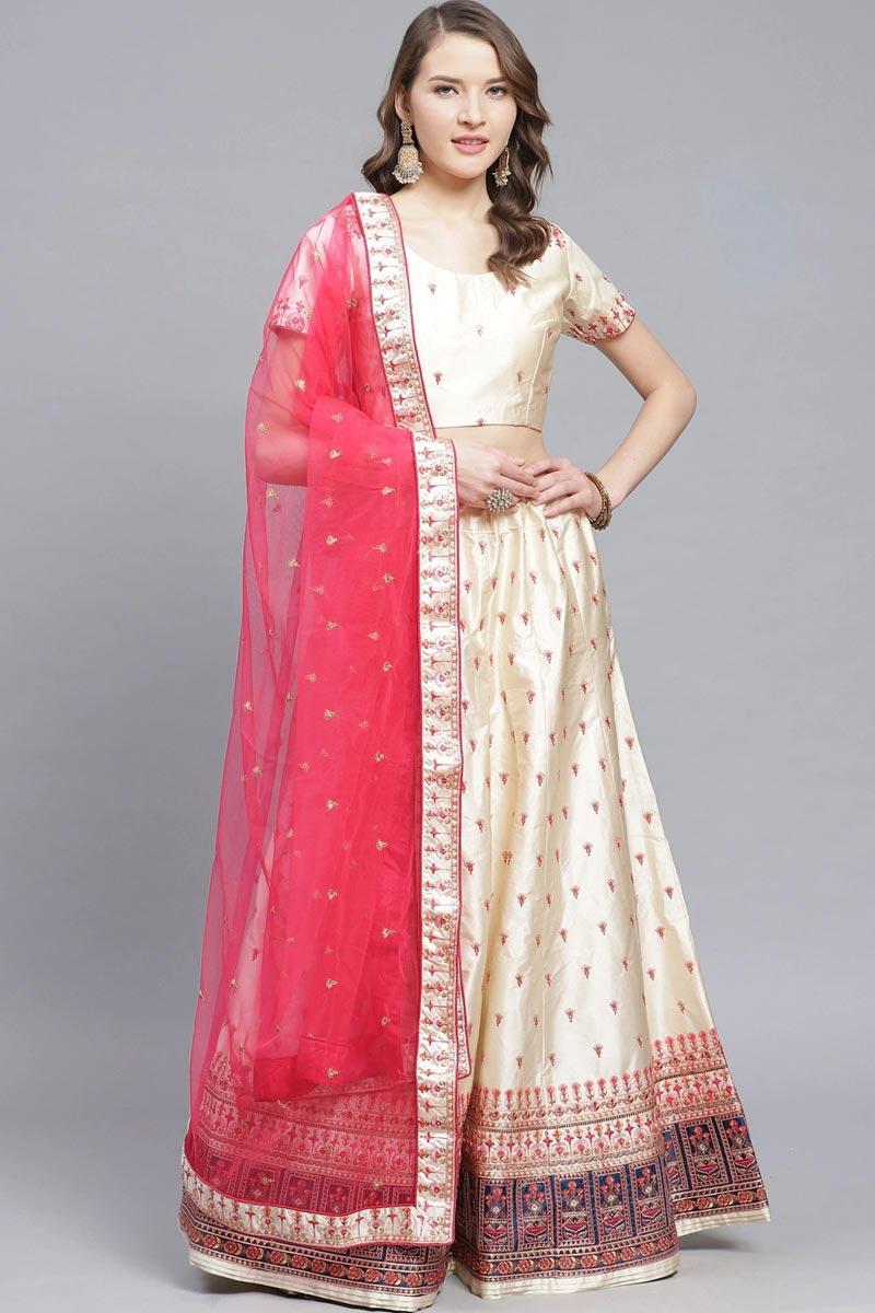Satin Fabric Sangeet Wear Designer Embroidered Lehenga In Beige Color