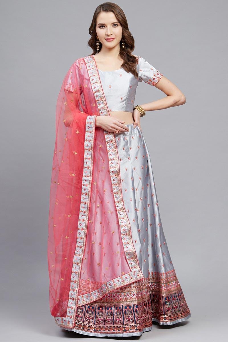 Designer Embroidered Satin Fabric Sangeet Wear Grey Color Lehenga Choli