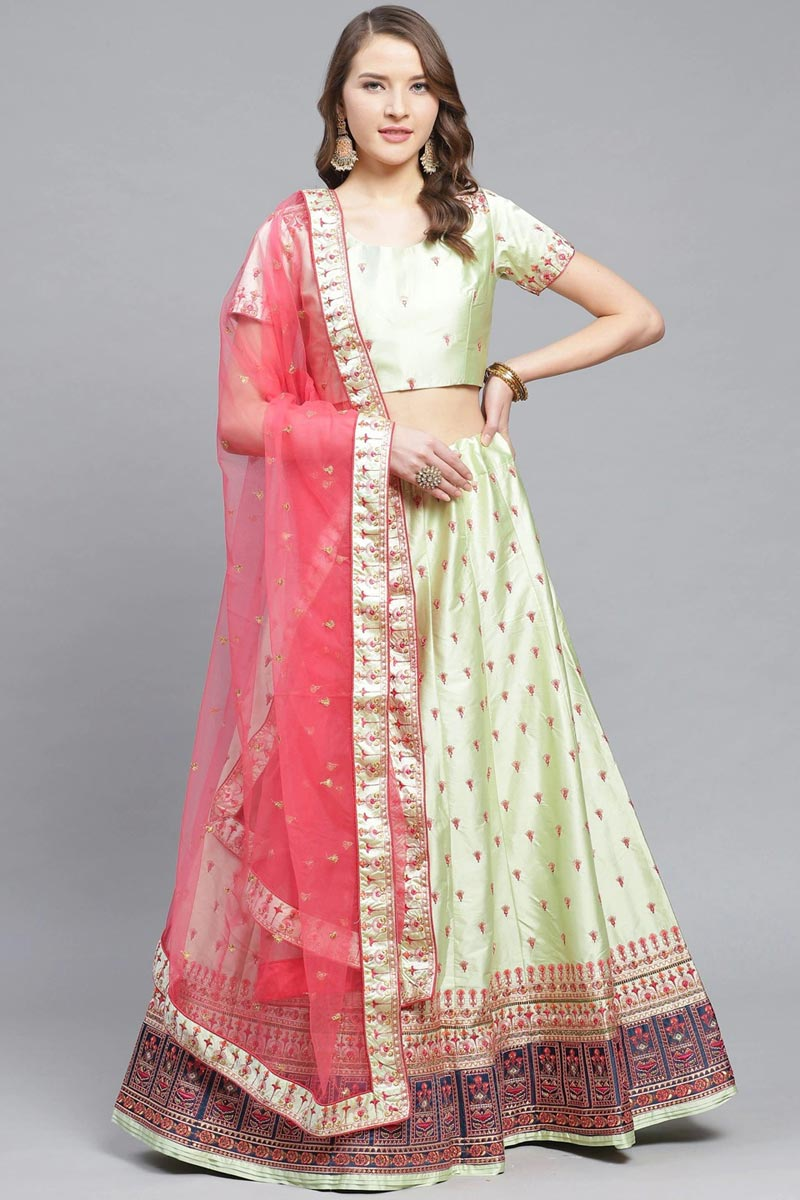 Sangeet Wear Sea Green Color Embroidered Satin Fabric Designer Lehenga Choli