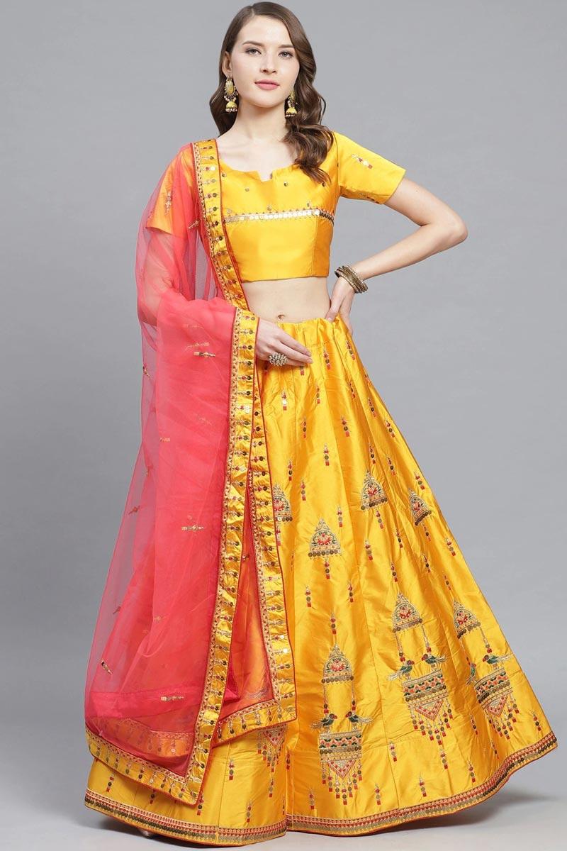 Mustard Color Sangeet Wear Designer Embroidered Satin Fabric Lehenga