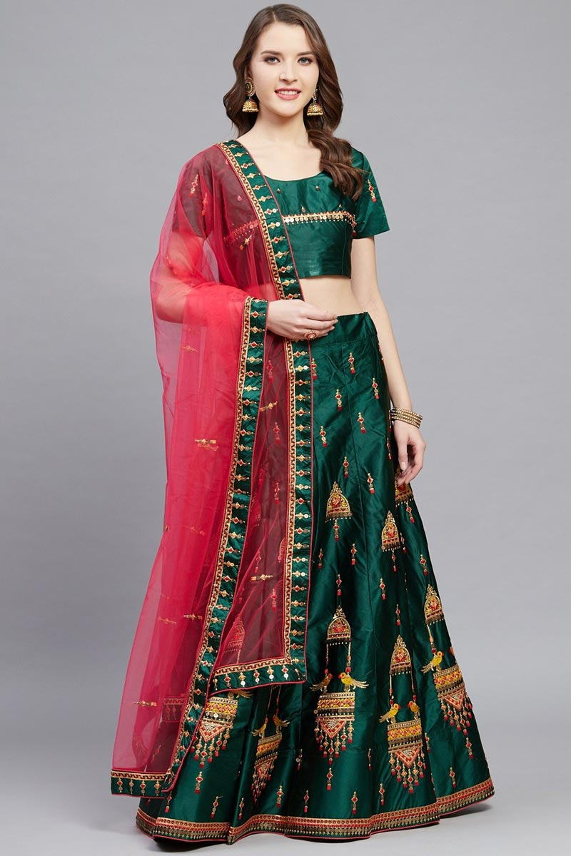 Sangeet Wear Satin Fabric Dark Green Color Embroidered Designer Lehenga Choli