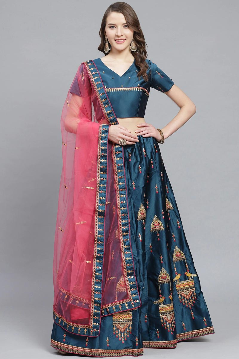 Teal Color Sangeet Wear Classy Embroidered Lehenga In Satin Fabric