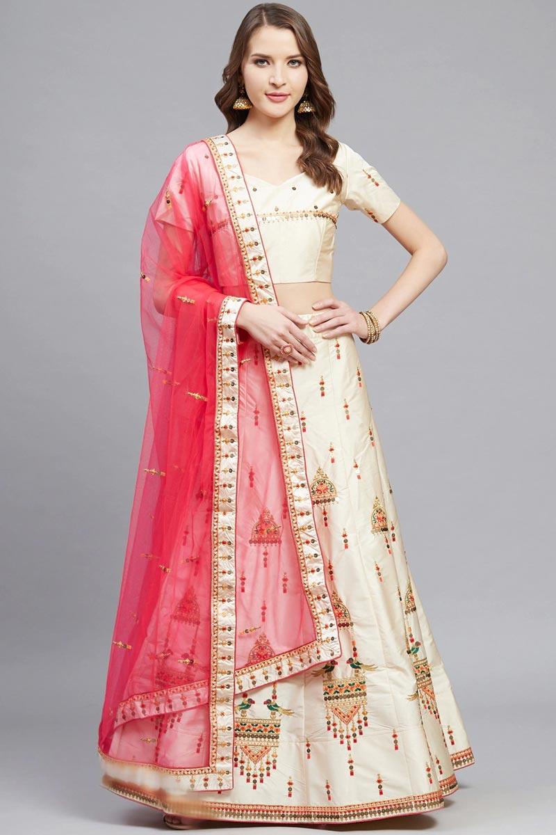 Classy Embroidered Beige Color Sangeet Wear Satin Fabric Lehenga Choli