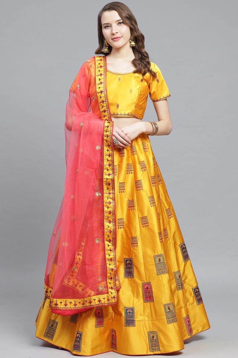 Mustard Color Sangeet Wear Satin Fabric Embroidered Classy Lehenga