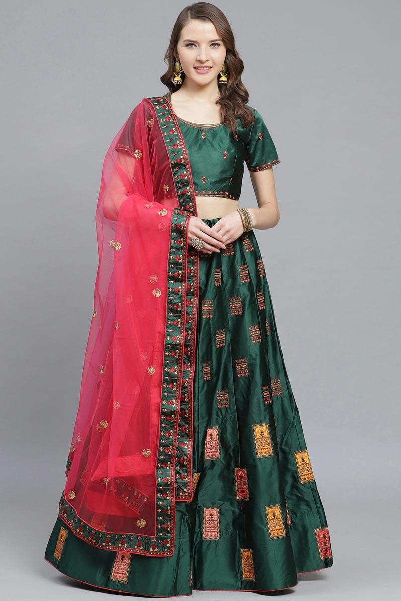Sangeet Wear Satin Fabric Embroidered Dark Green Color Classy Lehenga Choli