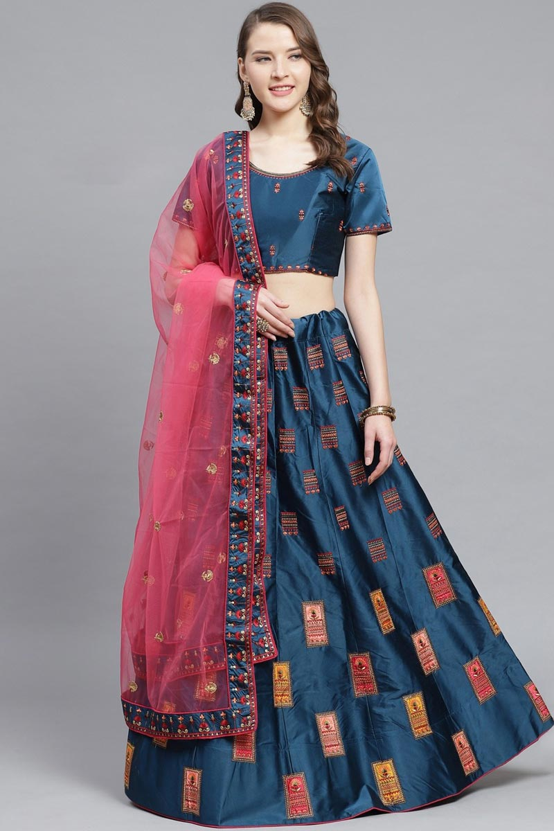 Satin Fabric Sangeet Wear Classy Embroidered Teal Color Lehenga