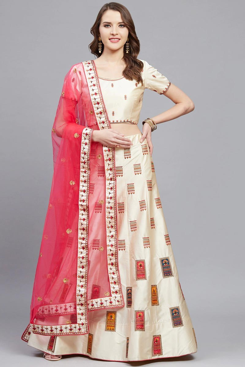 Sangeet Wear Beige Color Satin Fabric Embroidered Classy Lehenga Choli