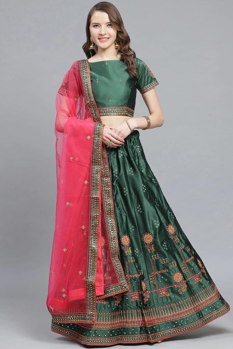 Designer Embroidered Satin Fabric Sangeet Function Wear Dark Green Color Lehenga Choli