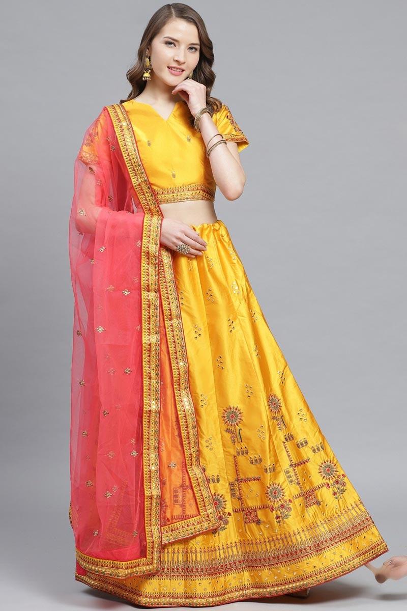Satin Fabric Sangeet Function Wear Mustard Color Embroidered Designer Lehenga