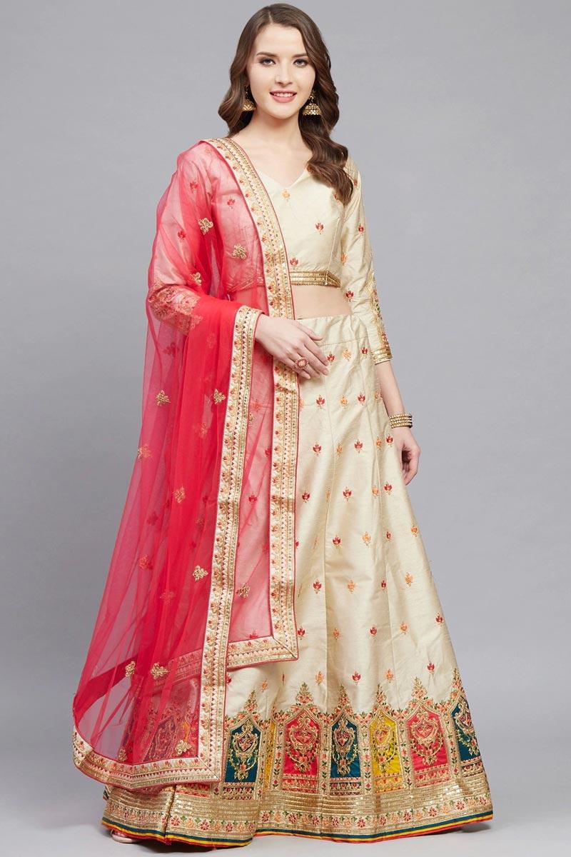 Beige Color Sangeet Function Wear Designer Embroidered Art Silk Fabric Lehenga