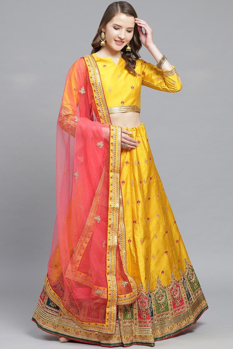 Sangeet Function Wear Art Silk Fabric Mustard Color Embroidered Designer Lehenga Choli