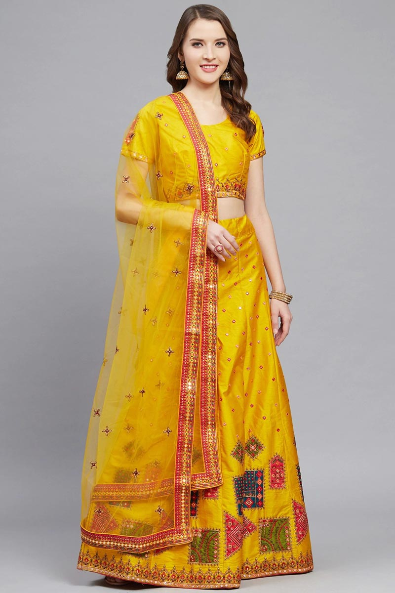 Mustard Color Sangeet Function Wear Classy Embroidered Lehenga In Art Silk Fabric