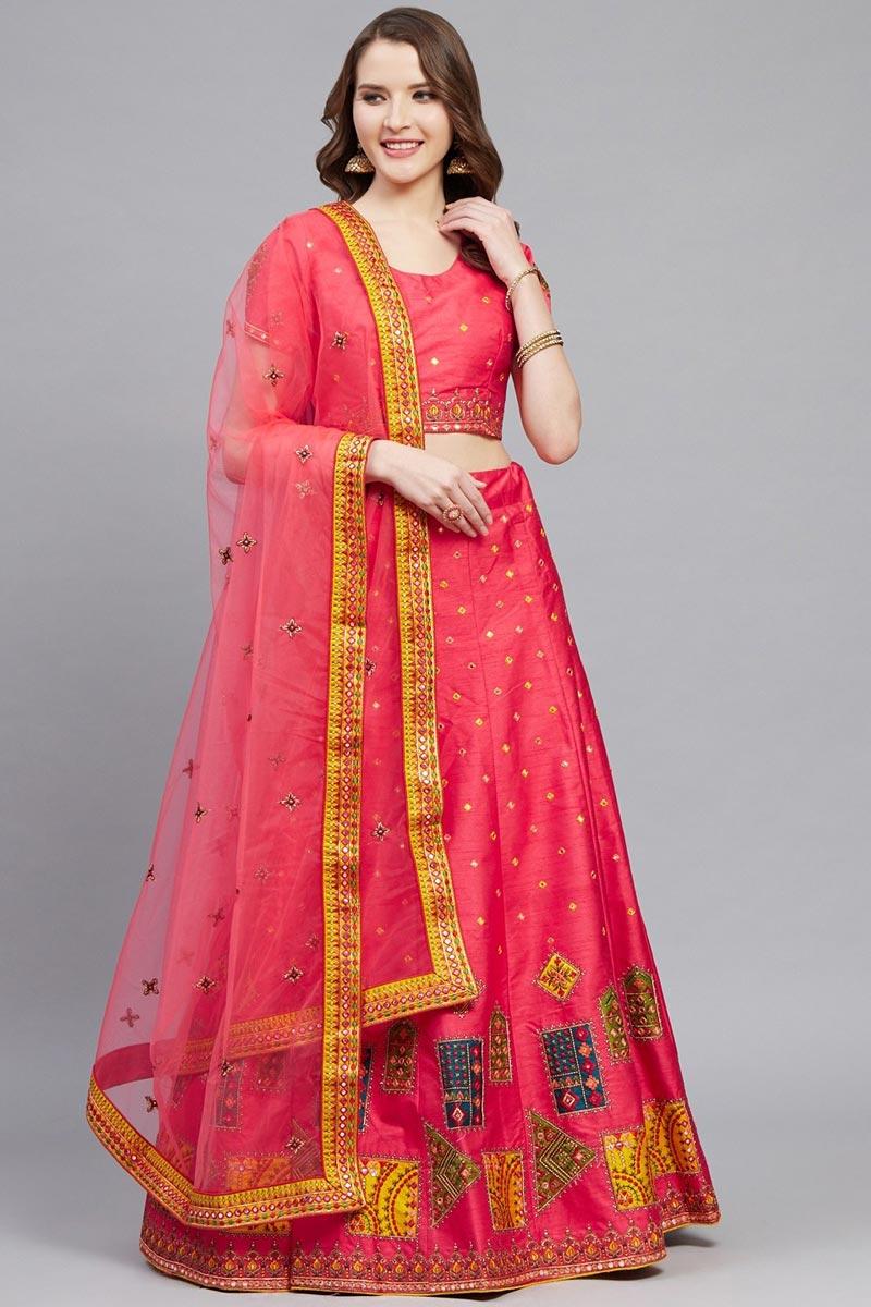 Classy Embroidered Pink Color Sangeet Function Wear Art Silk Fabric Lehenga Choli