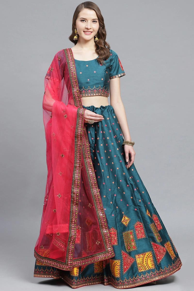 Teal Color Sangeet Function Wear Art Silk Fabric Embroidered Classy Lehenga