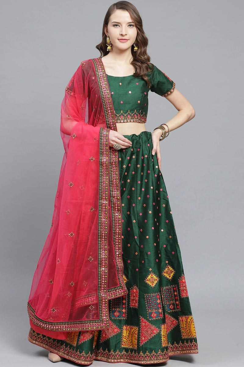 Sangeet Function Wear Art Silk Fabric Embroidered Dark Green Color Classy Lehenga Choli