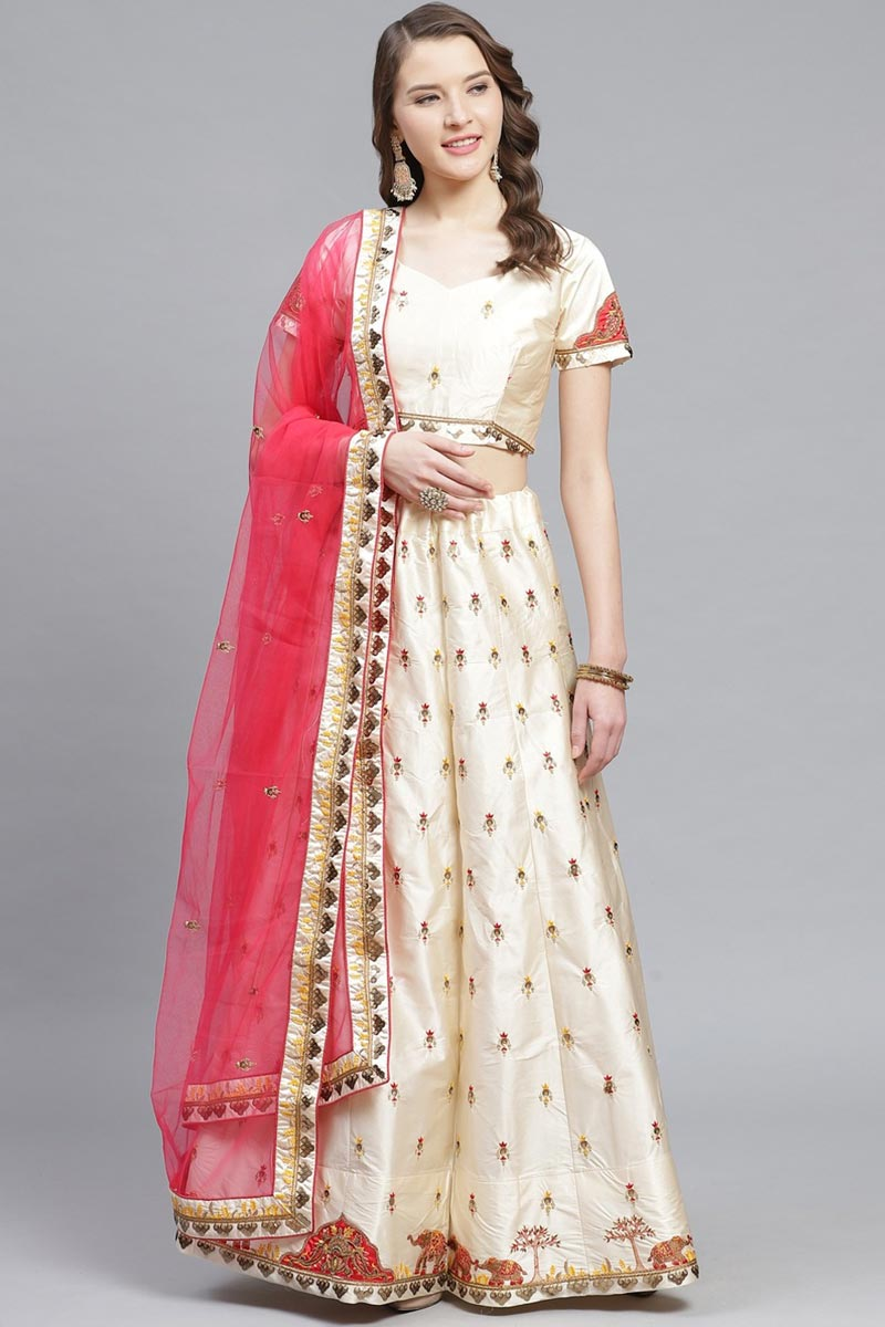 Satin Fabric Sangeet Function Wear Classy Embroidered Beige Color Lehenga