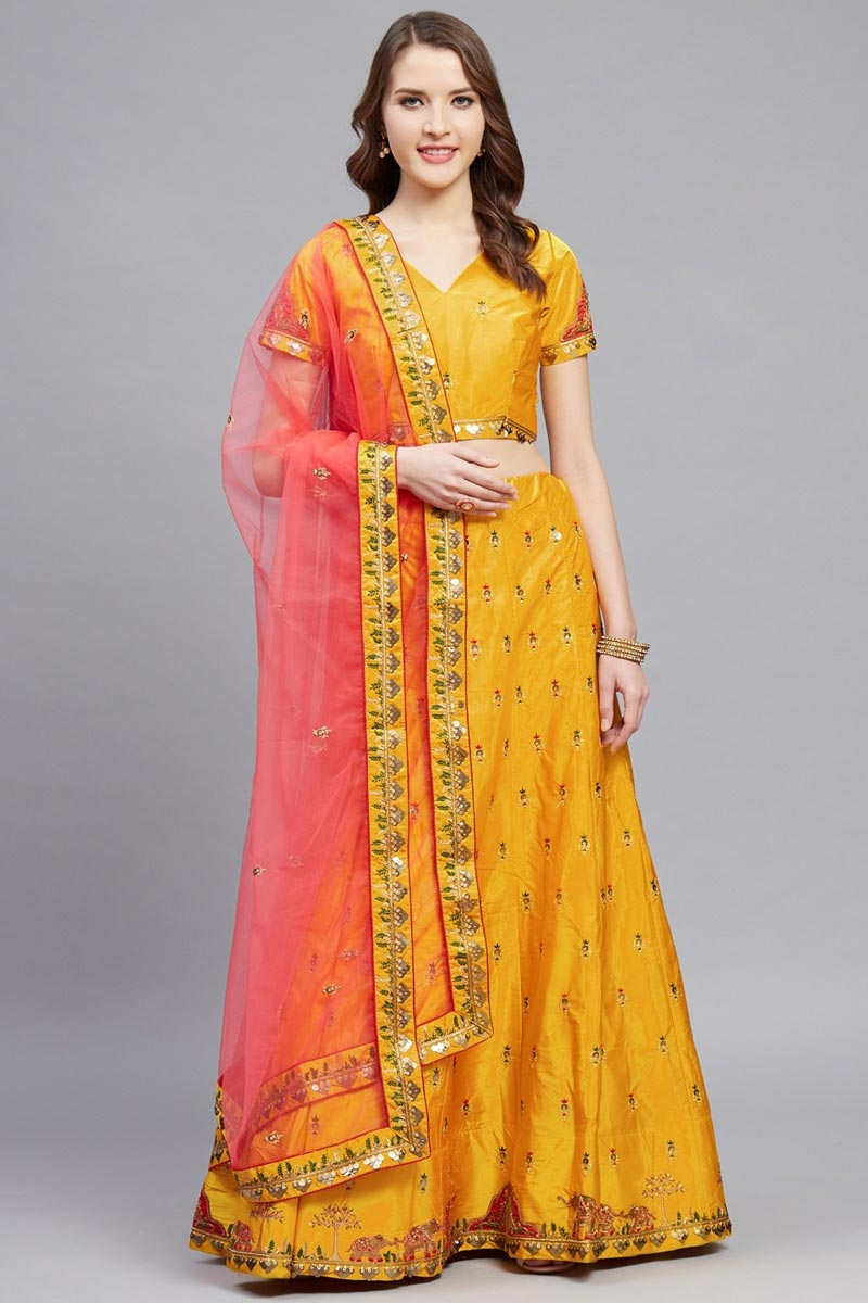 Sangeet Function Wear Mustard Color Satin Fabric Embroidered Classy Lehenga Choli