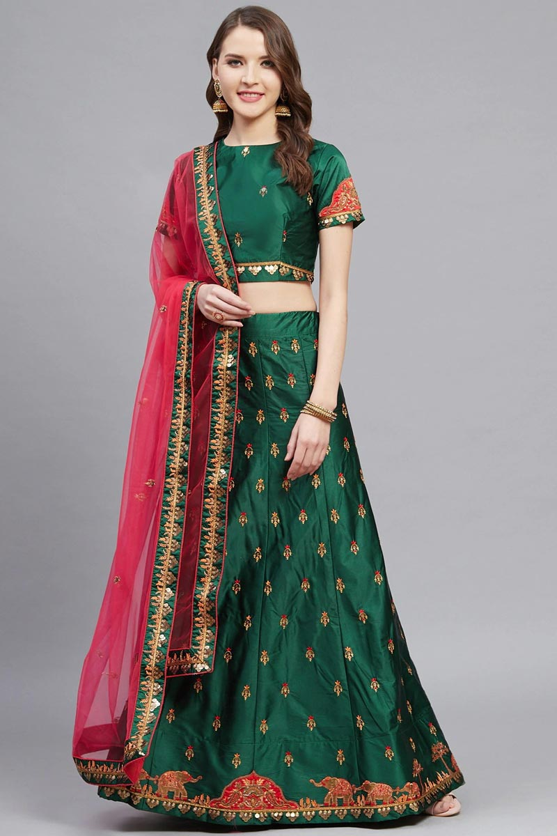 Dark Green Color Sangeet Function Wear Designer Embroidered Lehenga In Satin Fabric