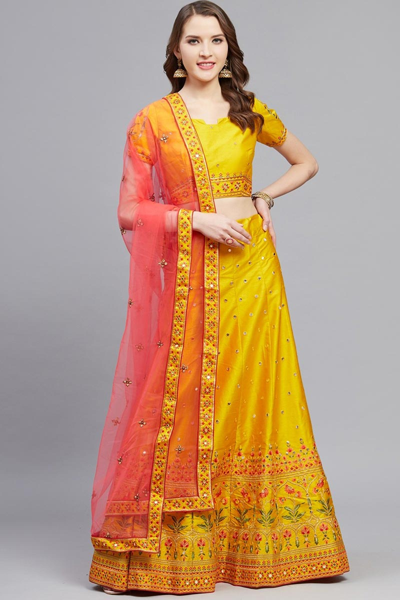 Mustard Color Sangeet Function Wear Art Silk Fabric Embroidered Designer Lehenga