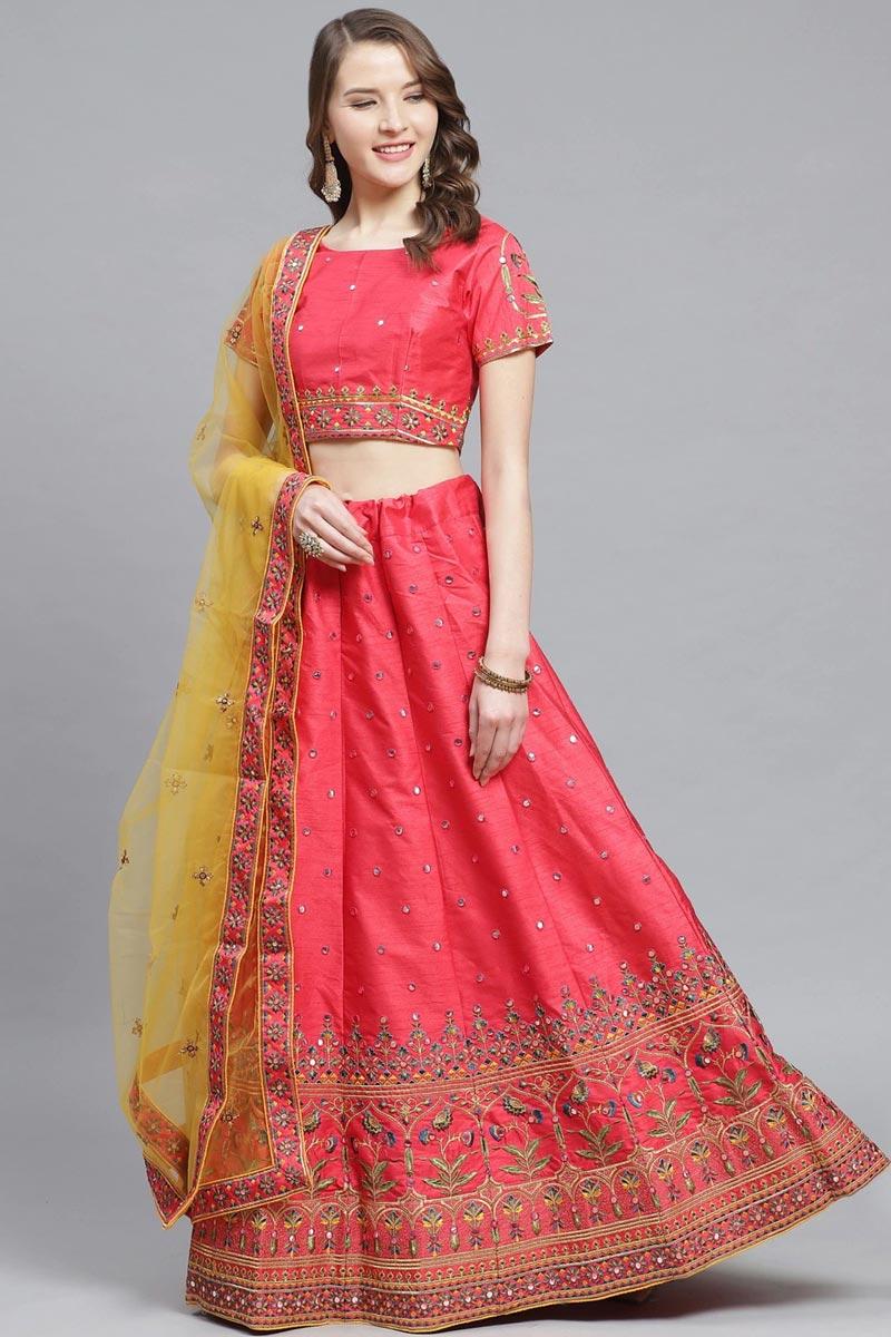 Sangeet Function Wear Art Silk Fabric Embroidered Peach Color Designer Lehenga Choli