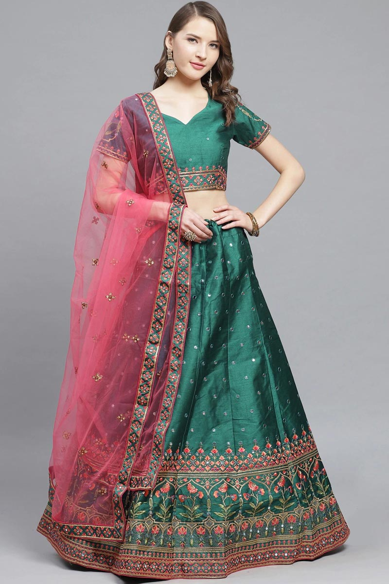 Art Silk Fabric Sangeet Function Wear Designer Embroidered Teal Color Lehenga