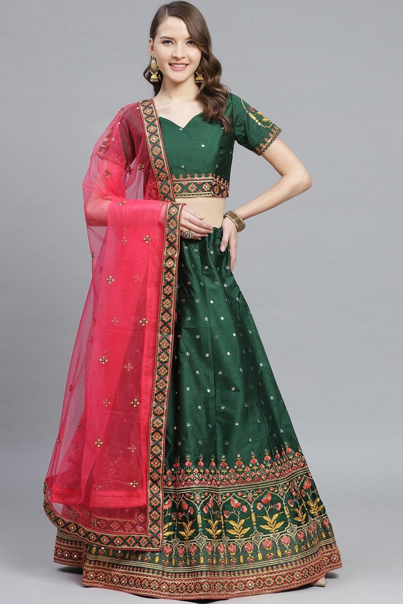 Sangeet Function Wear Dark Green Color Art Silk Fabric Embroidered Designer Lehenga Choli