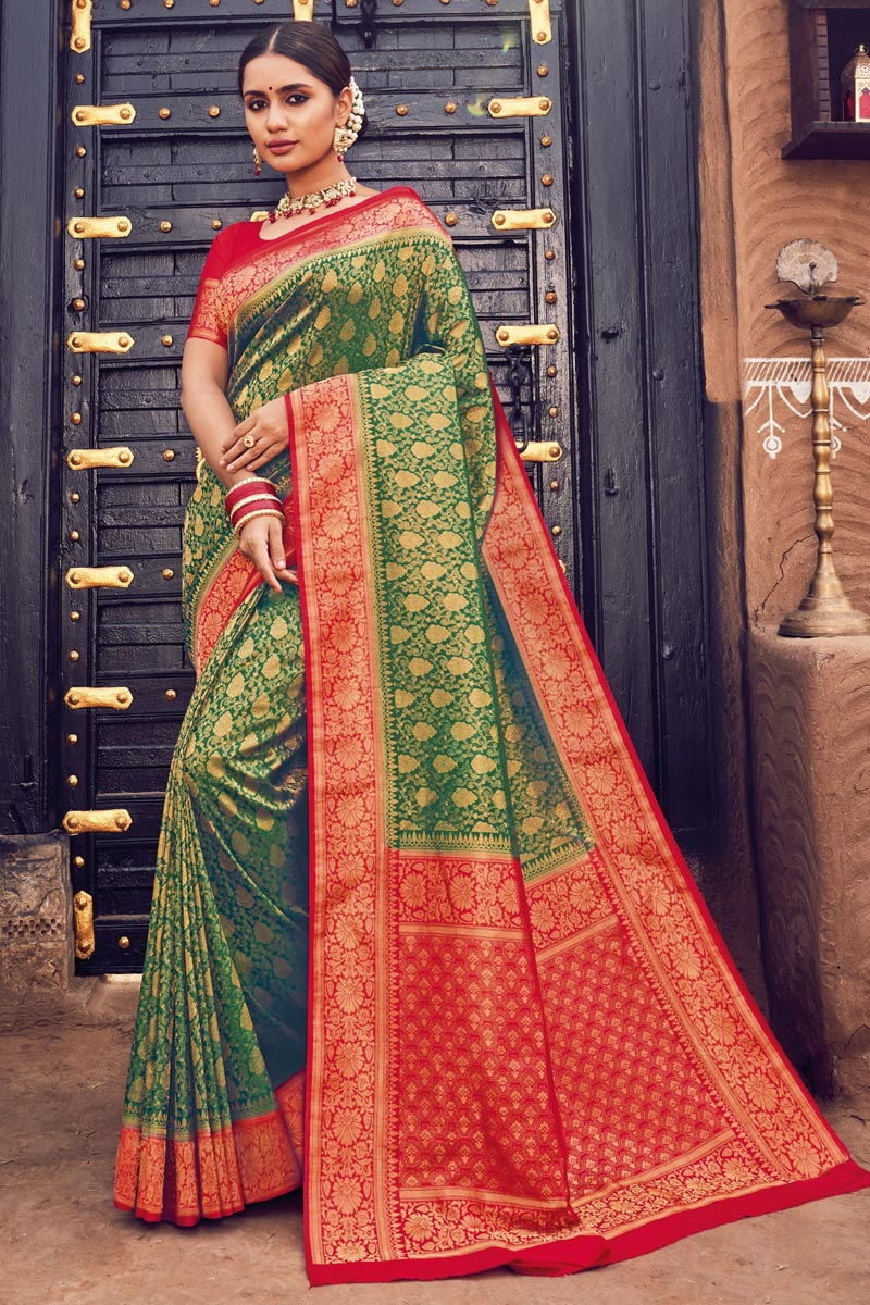 Weaving Work Mehendi Green Color Wedding Wear Art Silk Fabric Saree