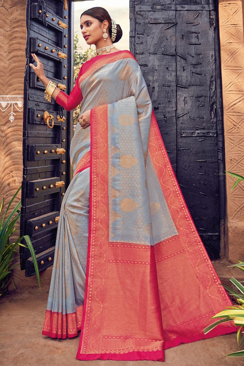 Grey Color Art Silk Fabric Weaving Work Puja Wear Fancy Saree