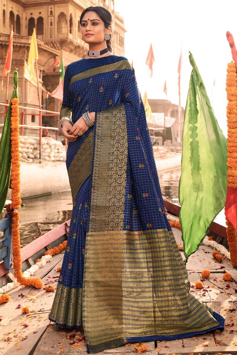 Navy Blue Party Wear Art Silk Fabric Weaving Work Saree