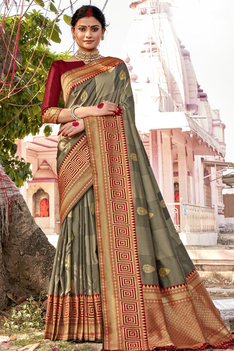 Dark Beige Color Sangeet Wear Art Silk Fabric Fancy Weaving Work Saree