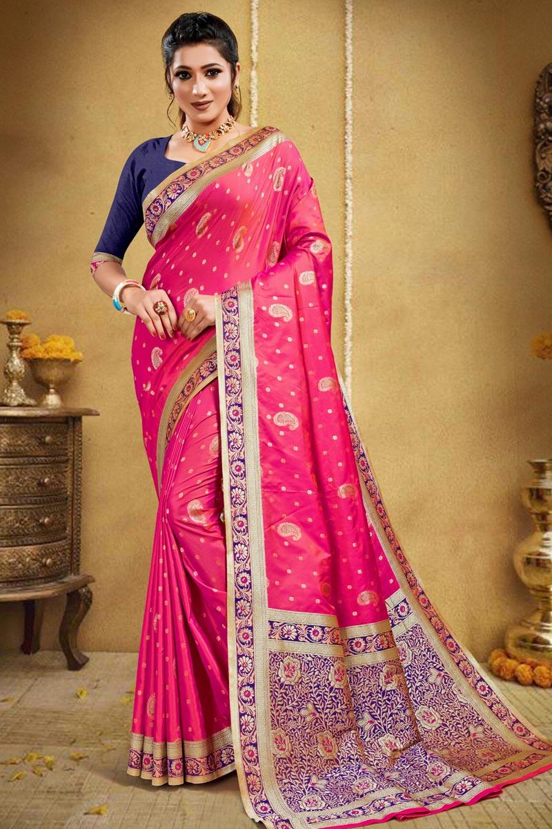 Art Silk Rani Color Puja Wear Weaving Work Saree