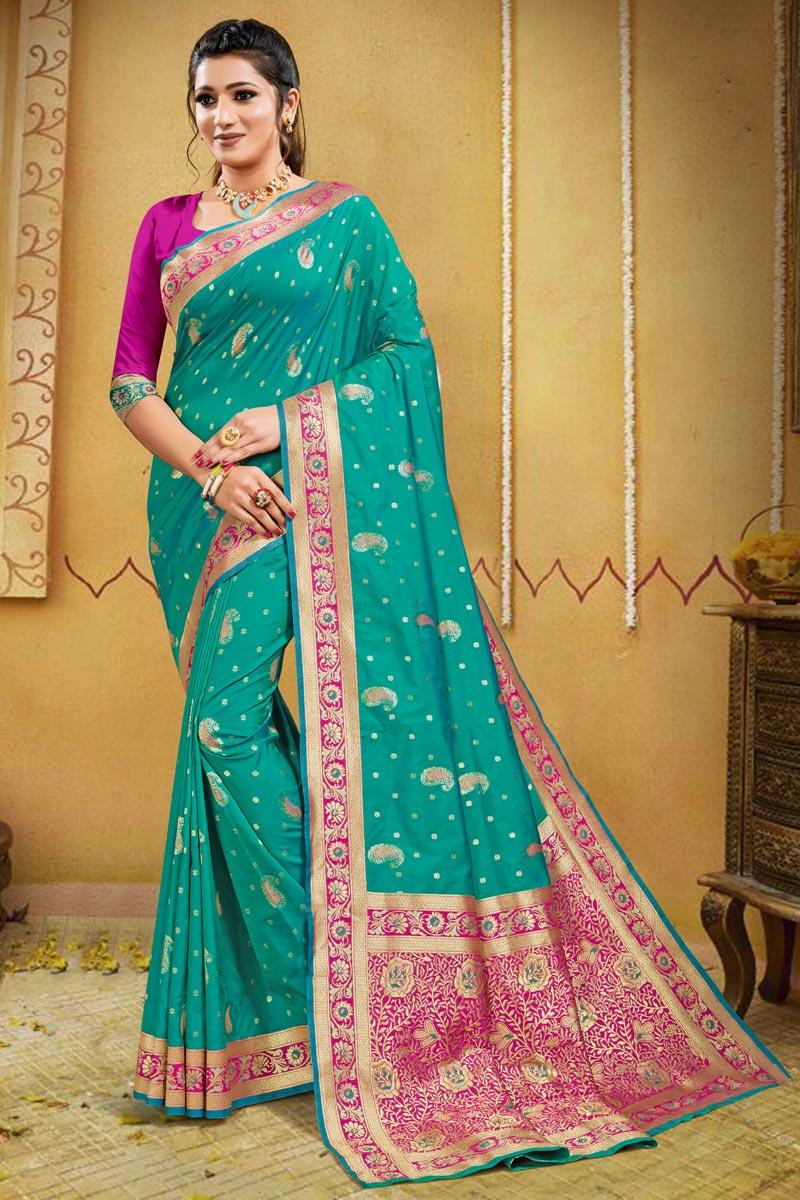 Art Silk Puja Wear Cyan Color Weaving Work Saree