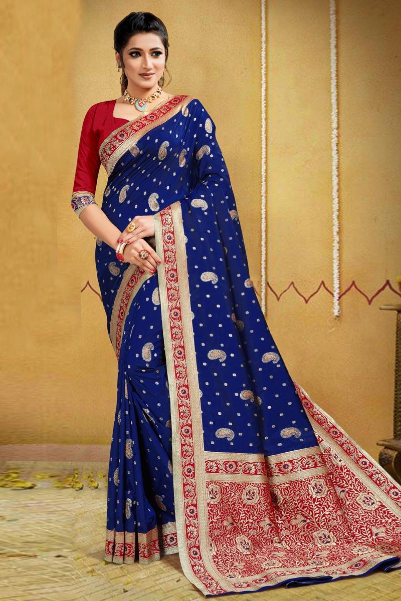 Puja Wear Art Silk Weaving Work Saree In Blue Color