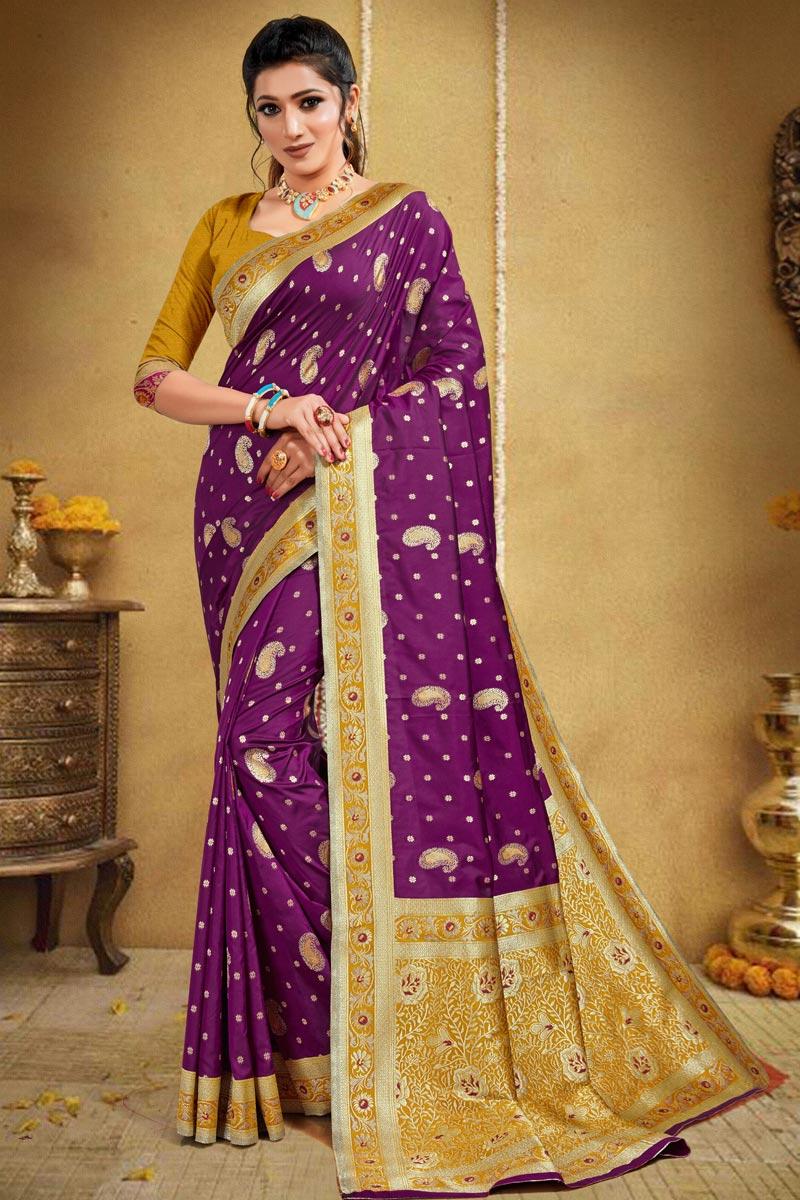 Purple Color Puja Wear Art Silk Weaving Work Saree