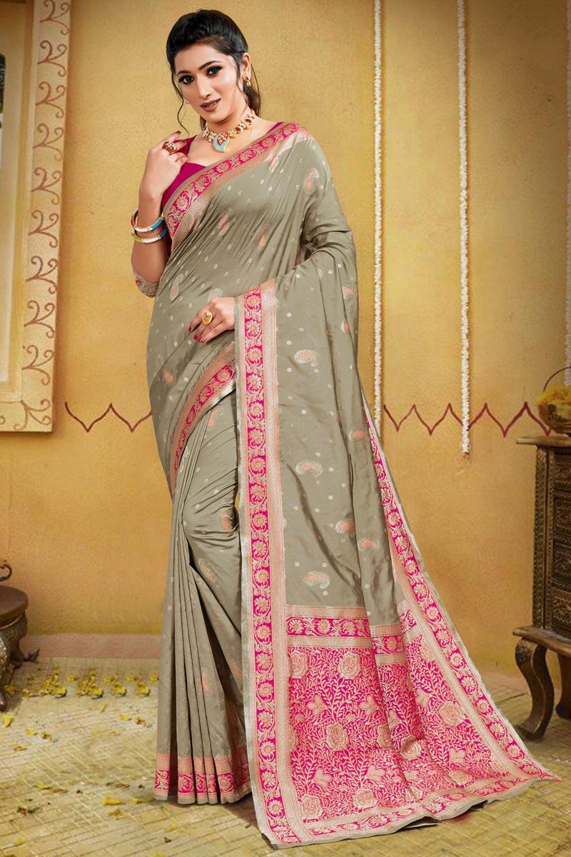 Art Silk Puja Wear Cream Color Weaving Work Saree