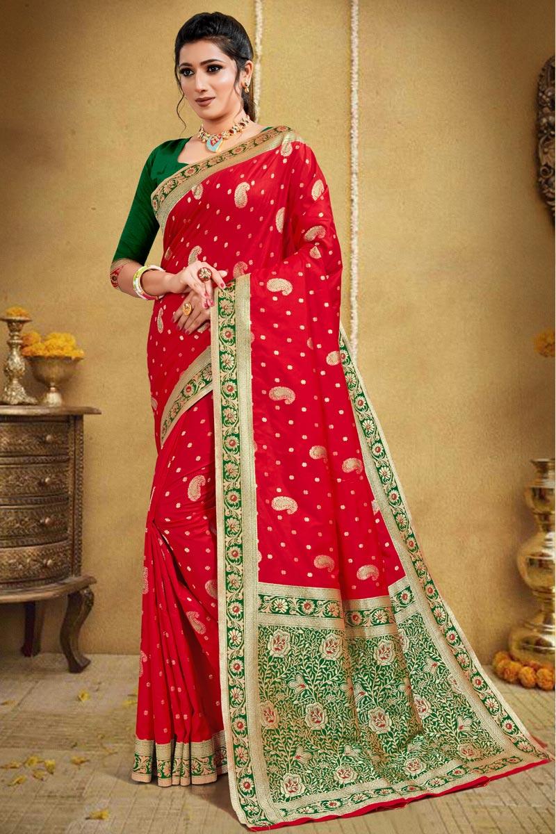 Art Silk Puja Wear Weaving Work Saree In Red Color