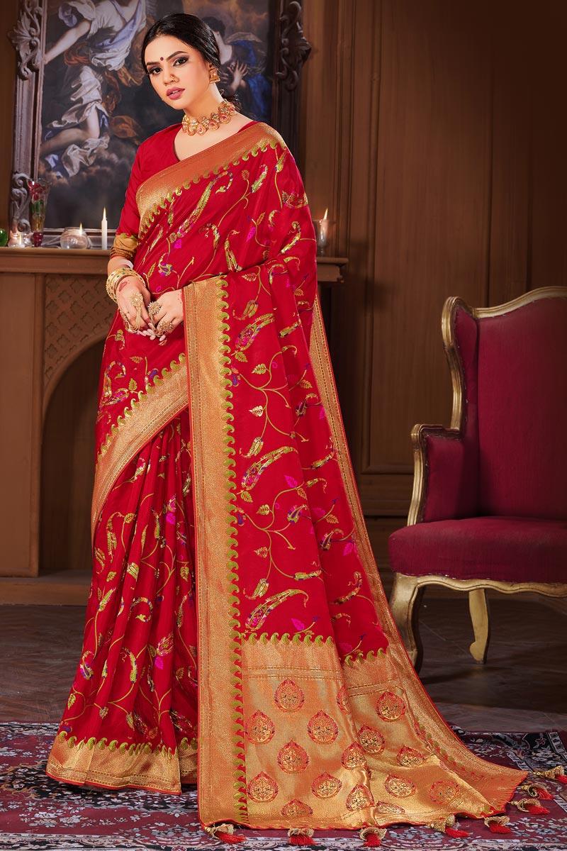 Banarasi Style Art Silk Red Color Puja Wear Weaving Work Saree