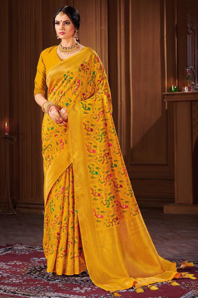 Banarasi Style Art Silk Puja Wear Mustard Color Weaving Work Saree