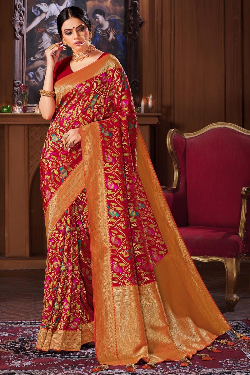 Red Color Puja Wear Banarasi Style Art Silk Weaving Work Saree