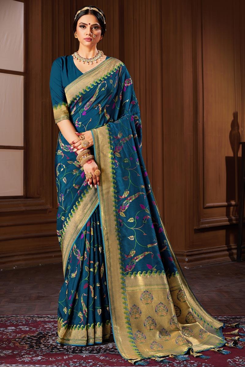 Puja Wear Banarasi Style Art Silk Weaving Work Saree In Teal Color