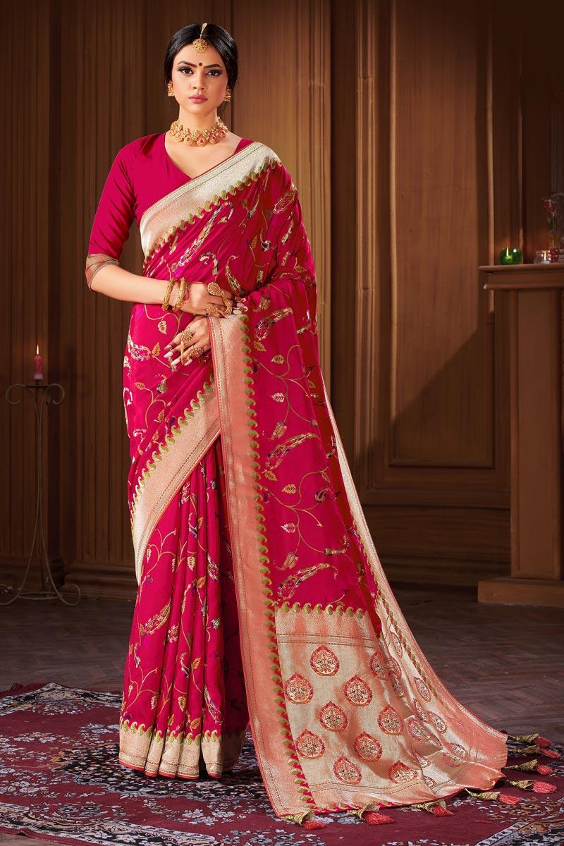 Banarasi Style Art Silk Puja Wear Rani Color Weaving Work Saree
