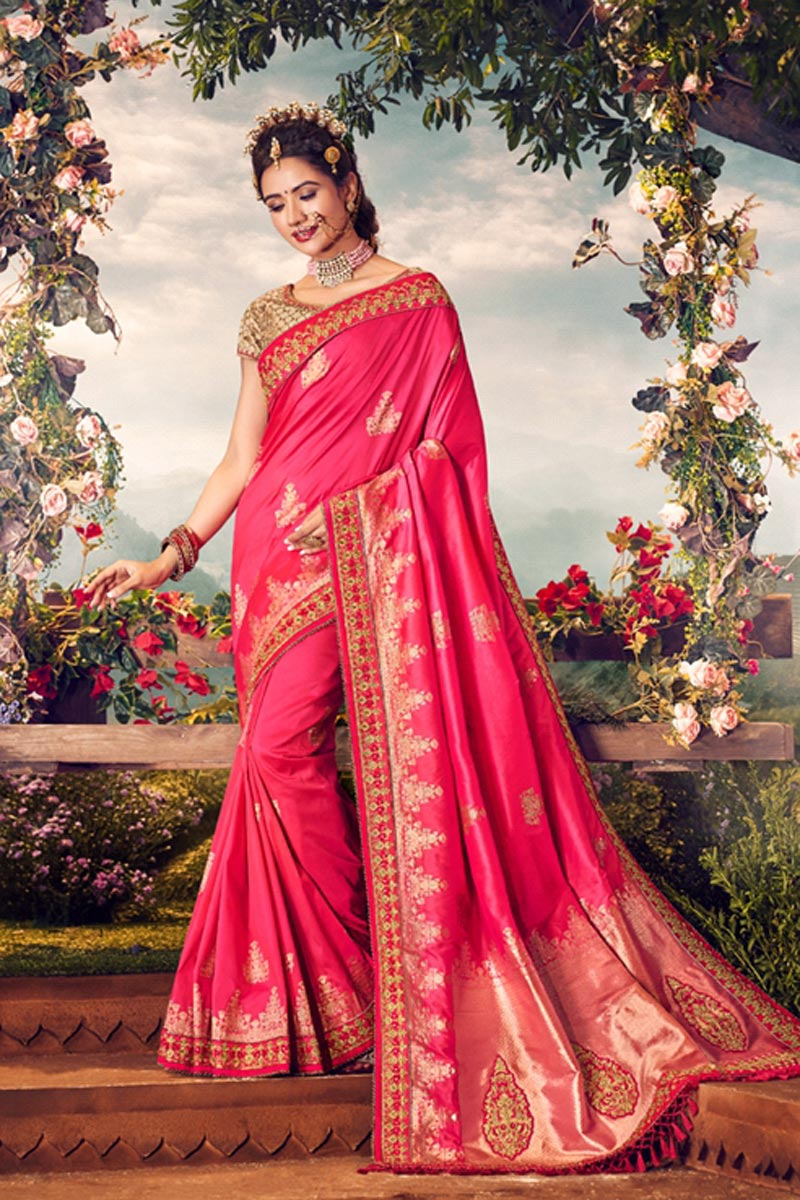 Pink Color Sangeet Wear Designer Weaving Work Saree With Embroidered Blouse