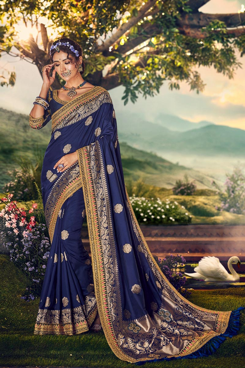 Sangeet Wear Banarasi Silk Fabric Designer Weaving Work Saree With Embroidered Blouse