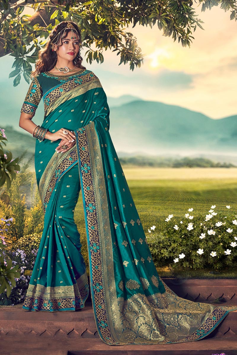 Teal Color Sangeet Wear Designer Weaving Work Saree With Embroidered Blouse
